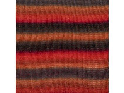 13 červená oranžová šedá print