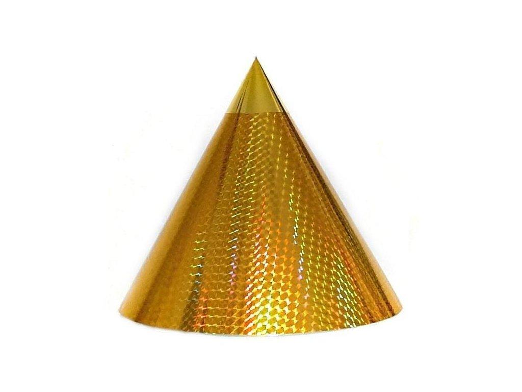 Kuželová pyramida (22 cm) - zlatá čtverečky