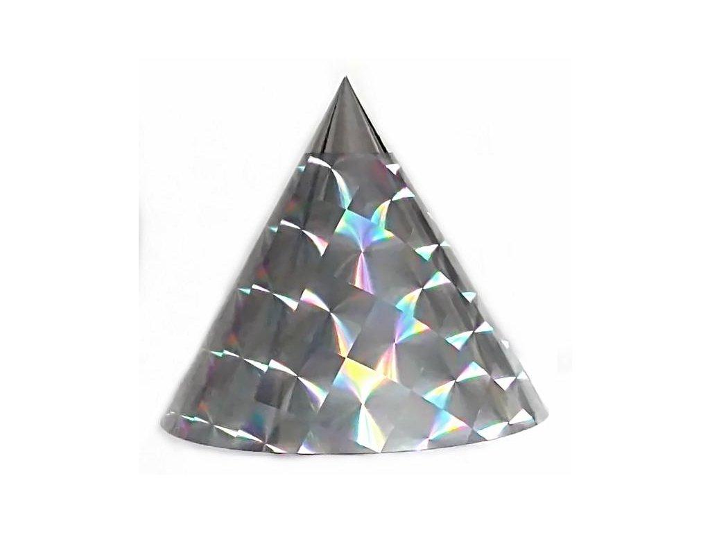 Kuželová pyramida (22 cm) - stříbrná čtverce hologram