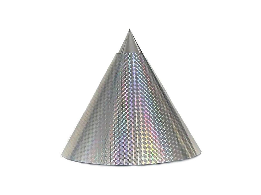 Kuželová pyramida (22 cm) - stříbrná čtverečky