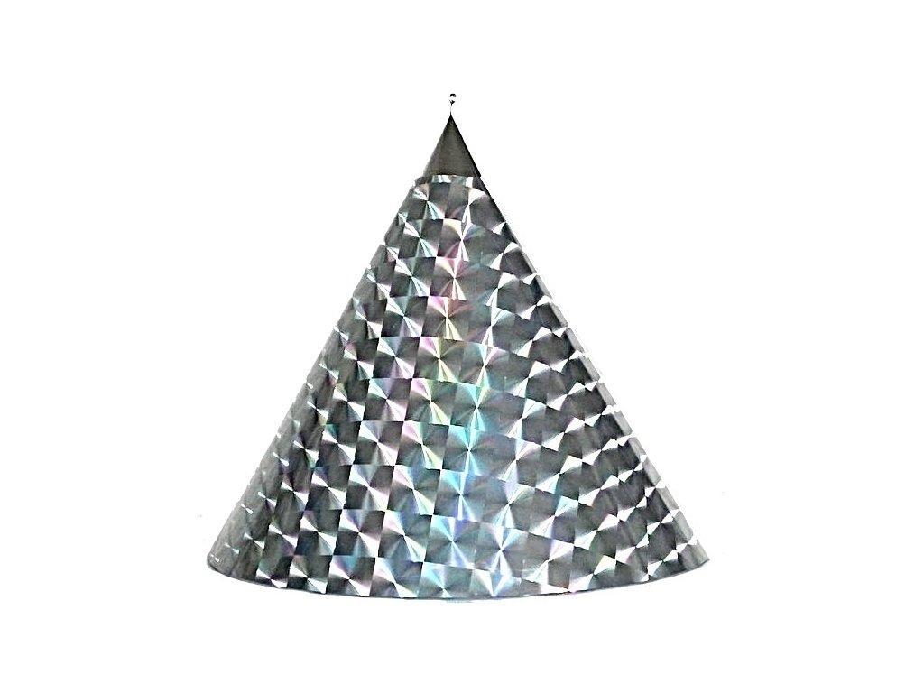 Kuželová pyramida (45 cm) - stříbrná čtverce