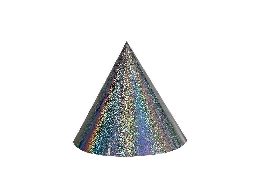 Kuželová pyramida (16 cm) - stříbrná extra tečky
