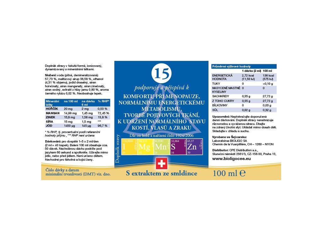 15 ROZTOK BIOLIGO - menopauza, pojivové tkáně, kosti, vlasy, zrak