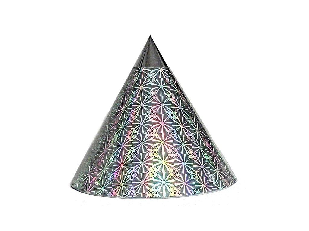 Kuželová pyramida malá (11 cm) - stříbrná kolečka