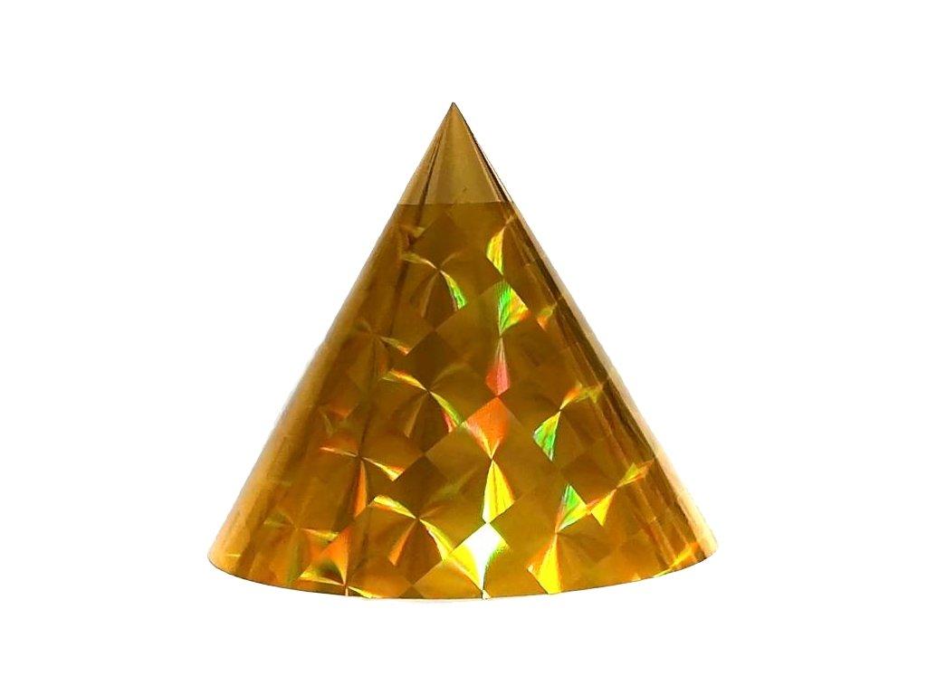Kuželová pyramida malá (11 cm) - zlatá čtverce