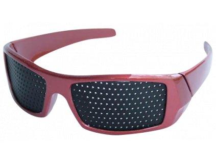 Děrované brýle červené - Elegant