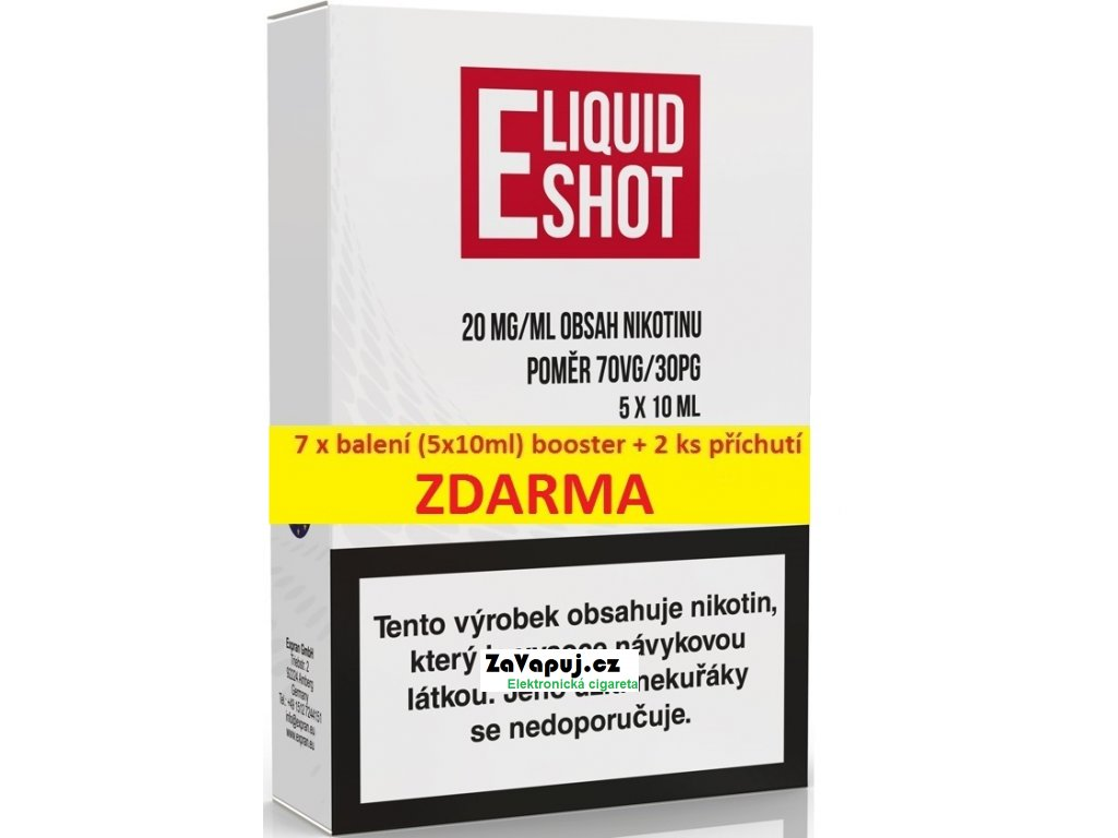 7 X (5 x 10 ml) E-Liquid Shot Booster 70VG/30PG 20 mg/ml + 2 příchutě ZDARMA