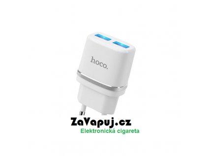 Nabíjecí adaptér do sítě Hoco C12 Dual USB (5V 2,4A) Bílý