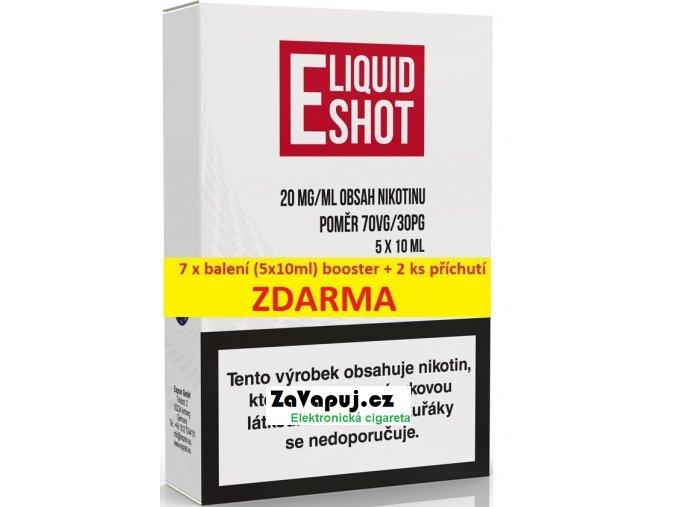 7 X (5 x 10 ml) E-Liquid Shot Booster 70VG/30PG 20 mg/ml + 2 příchutě ZDARMA