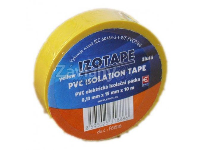 Izolační páska 15 mm žlutá, 10 m
