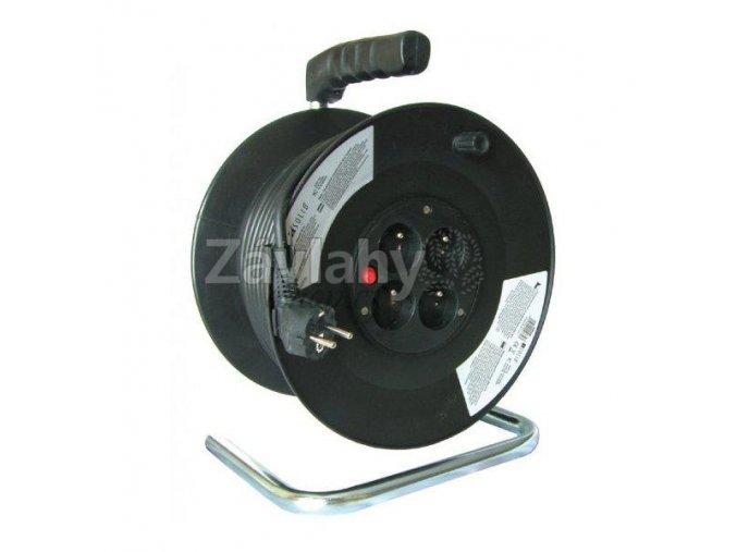 Prodlužovací kabel 25m černý 3x1,5mm², 4x zásuvka