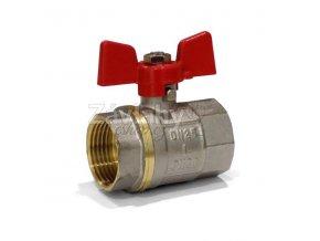 """Kulový ventil FF s motýlkem - standardní závit / připojení 1"""""""