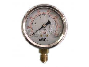 Manometr 0-10 bar, glycerinová náplň, Ø 63mm