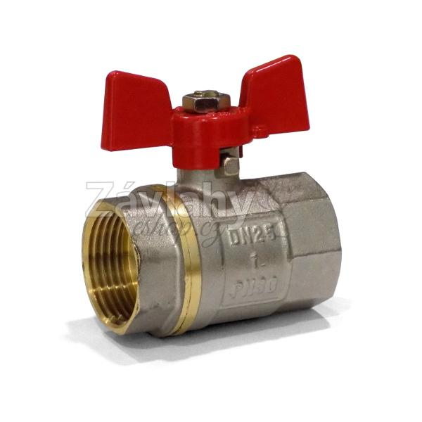 """Kulový ventil FF s motýlkem - krátký závit Typ: připojení 3/4"""""""
