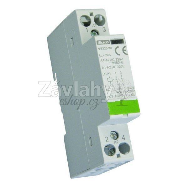 Instalační stykač VS 220-11, spínání spotřebičů do 1,3 kW AC3, ovládání 24 VAC