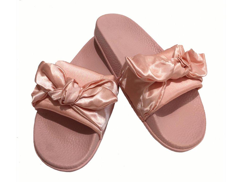 Dámské lesklé pantofle s mašlí růžové