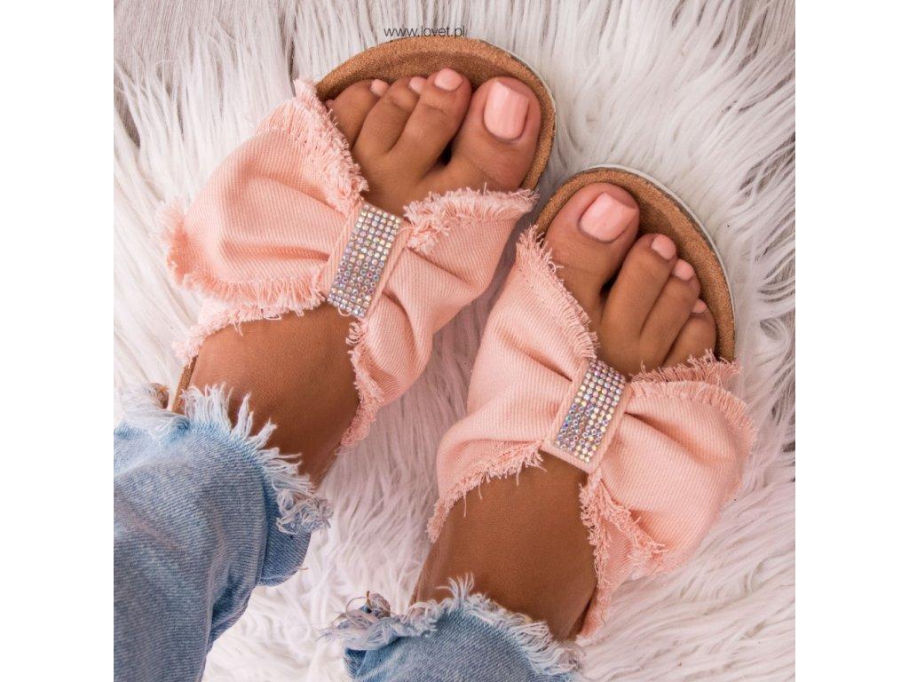 pantofle mašle lovet růžové