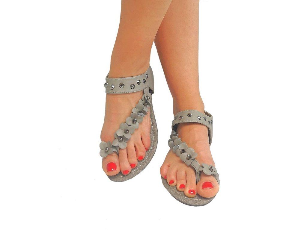 sandálky květy šedé