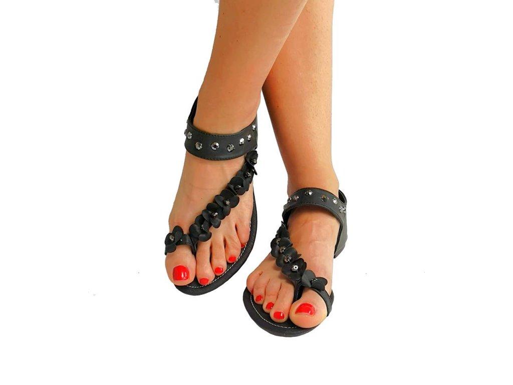 sandálky květy černé