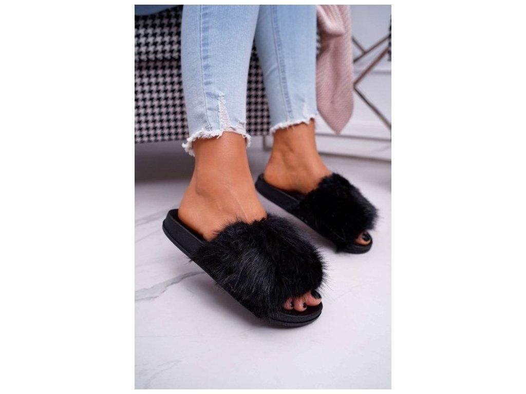 chlupaté pantofle černé