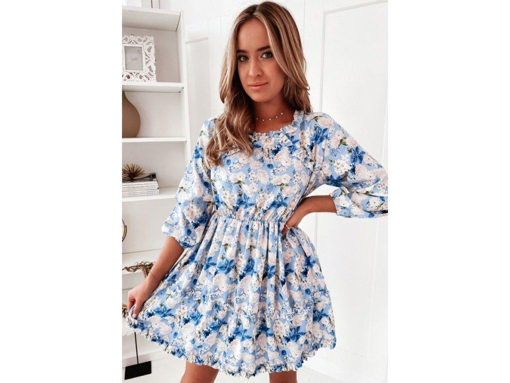 Šaty s kytičkami modré