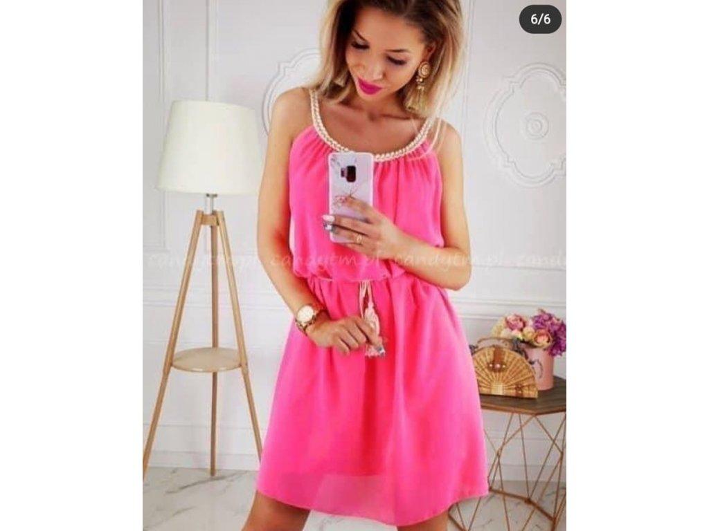antik šaty neon růžové