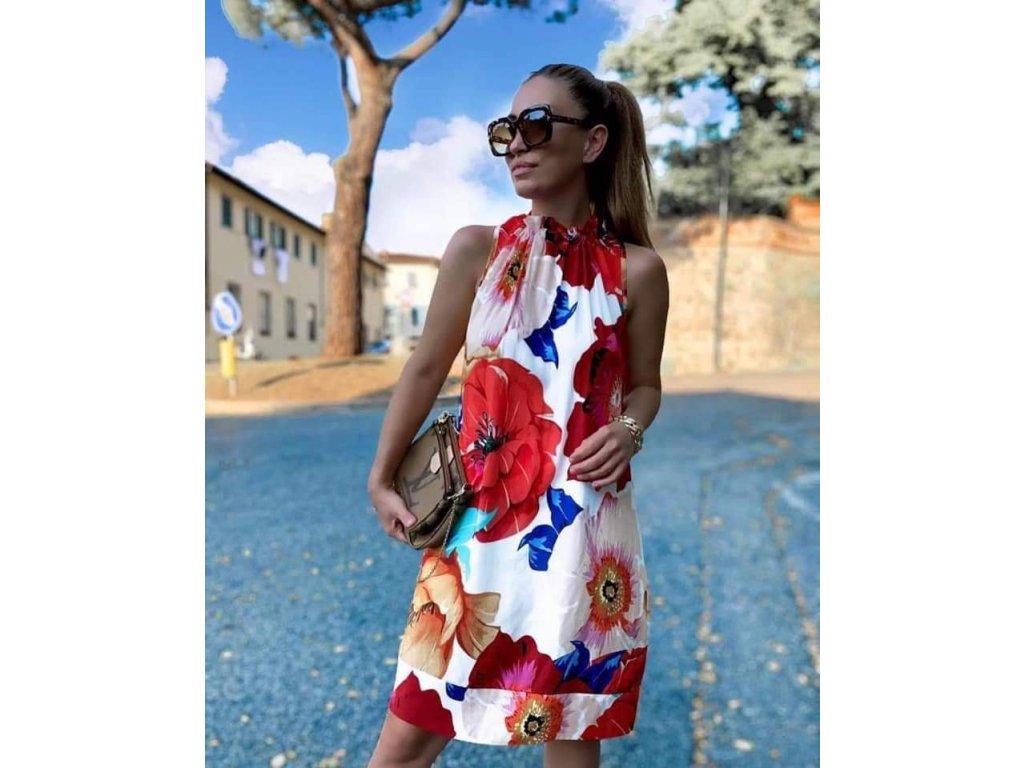 šaty s květy červené