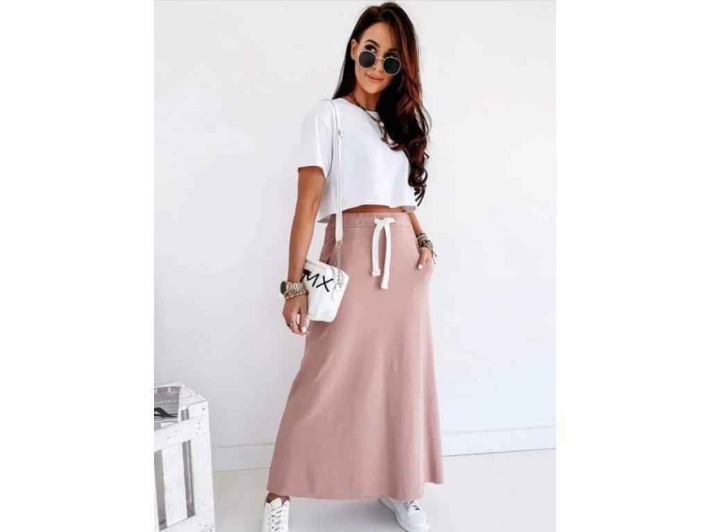 bavlna dlouhá sukně pudr