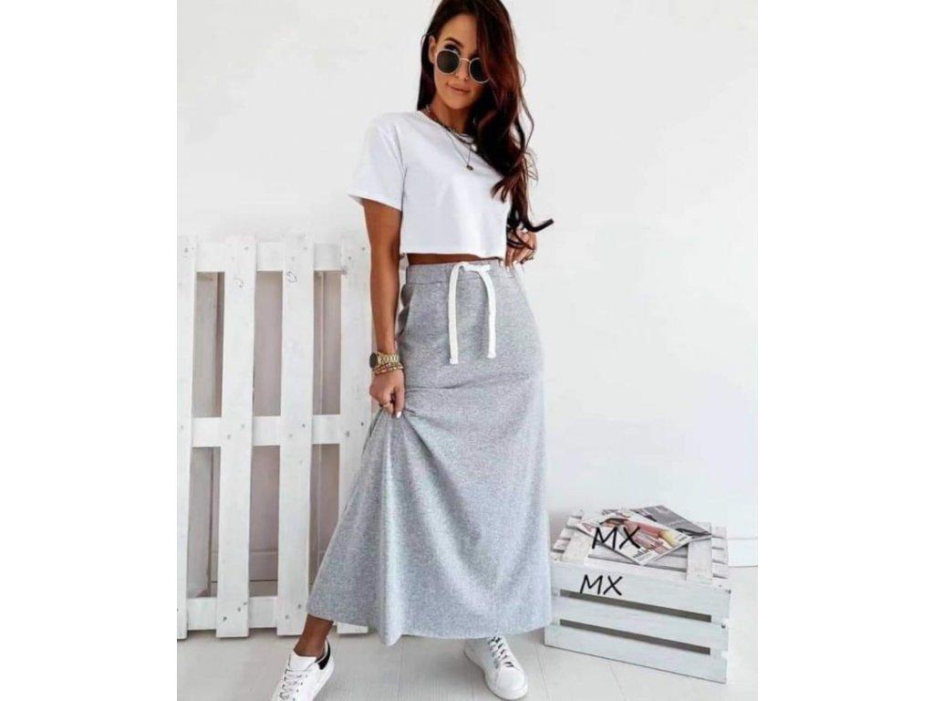 bavlna dlouhá sukně šedá