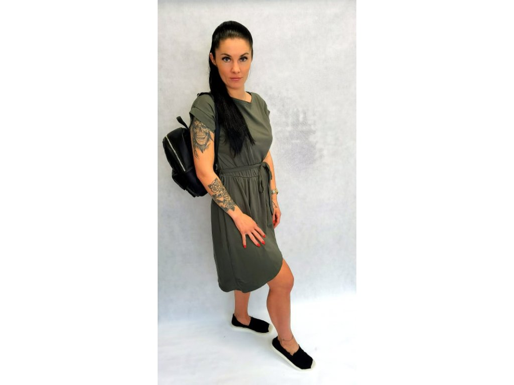 bavlněné šaty khaki