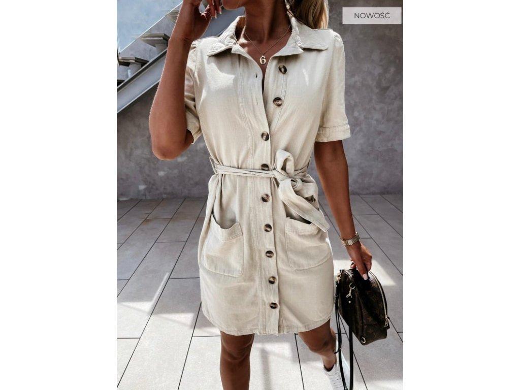 šaty knoflíky béžové