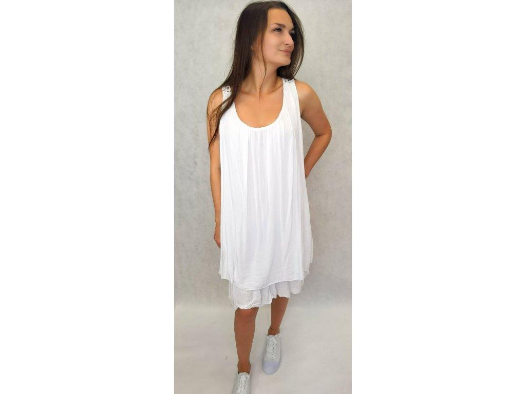 Šaty s krajkou na zádech bílé