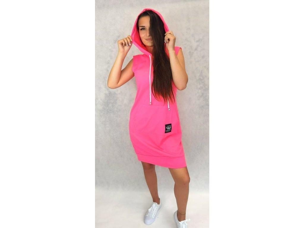 Bavlněné šaty s kapucí neon růžové