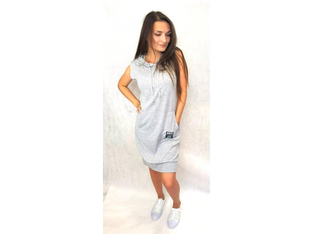 Bavlněné šaty s kapucí šedé