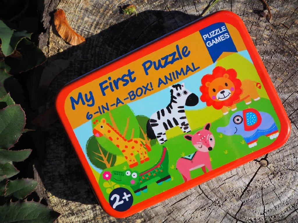 Moje první puzzle 6 v 1 v plechové krabičce typ 3