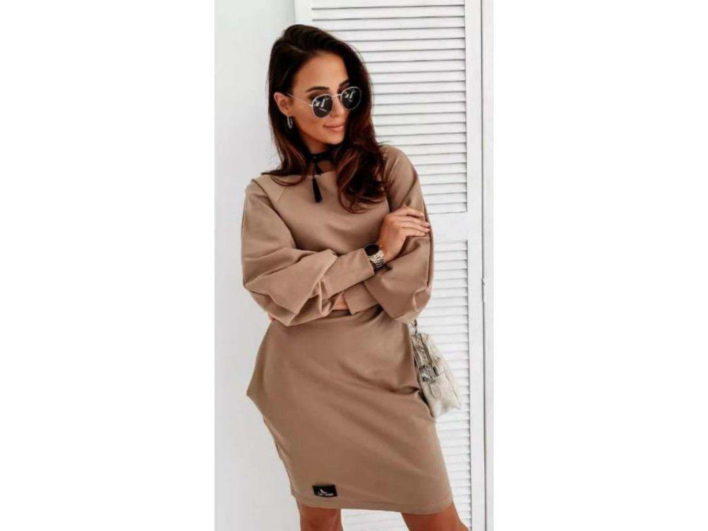 Bavlněné šaty s dlouhým rukávem hnědé
