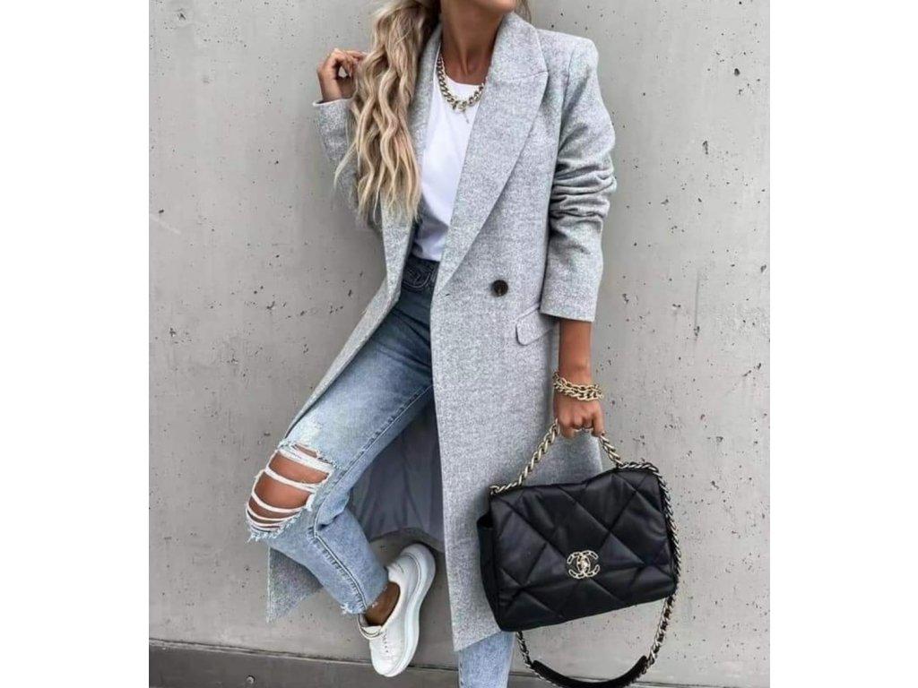 Flaušový kabát šedý