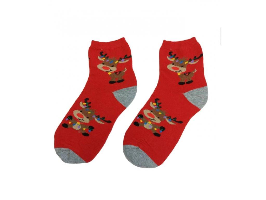 Dětské ponožky se sobem červené