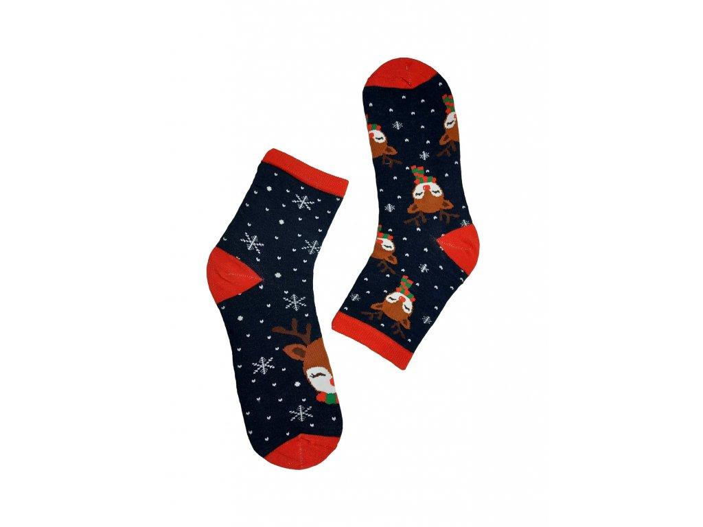 Dámské ponožky se sobem modré