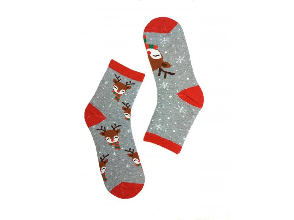 Dámské ponožky se sobem šedé