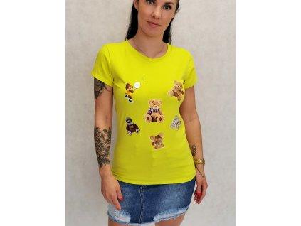 triko medvídci žluté