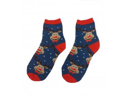 Dětské ponožky se sobem modré