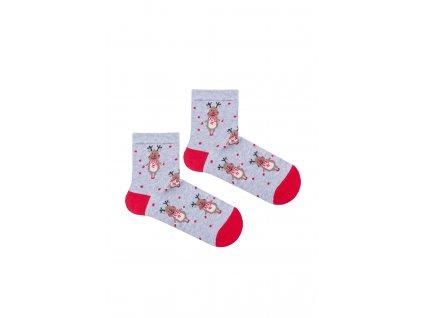 Dětské ponožky se sobem šedé
