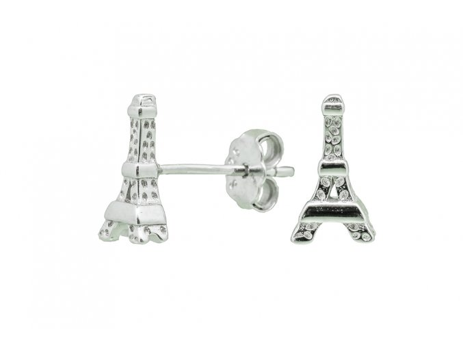 Stříbrné náušnice Eiffelovka