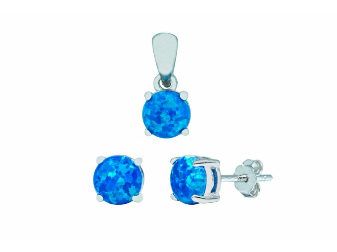 Stříbrná sada opál KL-královská modrá  Stříbro Ag 925/1000,  stříbrný řetízek a krabička zdarma