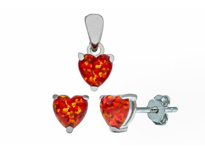 Stříbrná sada opálové srdce ruby  Rhodiované stříbro Ag 925/1000 s opálem, stříbrný řetízek a krabička zdarma