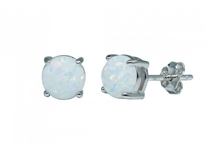 Stříbrné Náušnice opál KL- bílé  Rhodiované stříbro Ag 925/1000 s opálem