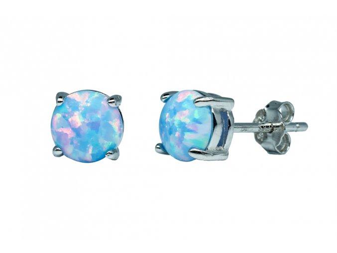 Stříbrné náušnice opál KL- nebeská modrá  Rhodiované stříbro Ag 925/1000 s opálem
