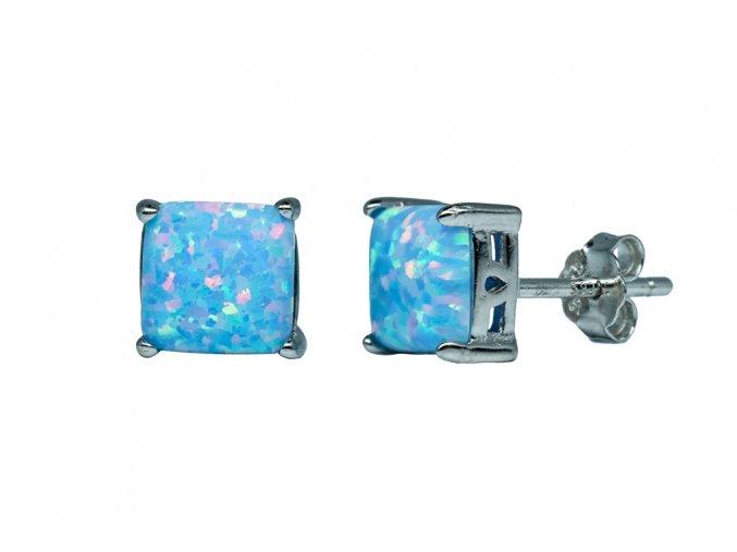 Stříbrné náušnice opál CT- nebeská modrá  Stříbro Ag 925/1000, dárkově zabaleno