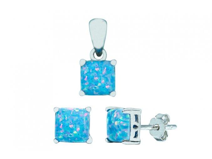 Stříbrná sada opál HR-blankytně modrá  Rhodiované stříbro Ag 925/1000 s opálem, stříbrný řetízek a krabička zdarma